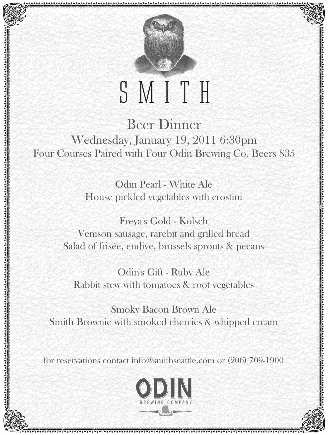 Menu  Smith Odin Beer Dinner  Taproom    Dinner And Beer